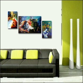 Radha Krishna wall art  Painting  10 Inch X 18 Inch 2Panel &  23Inch x 18Inch One Middle Panel