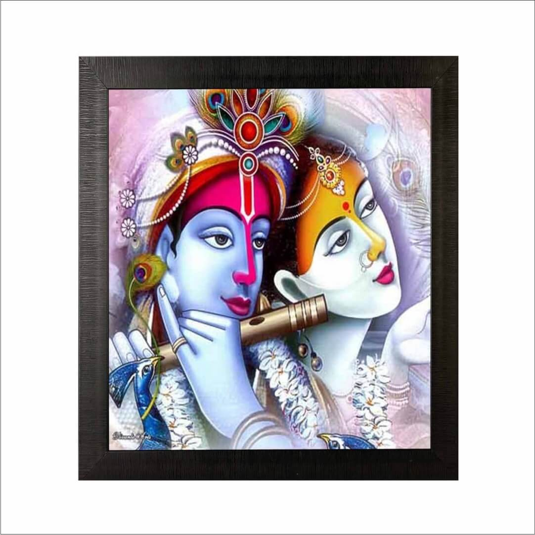 Colourful Radha Krishna Bansuri Digital Art wall art  Painting  20 Inch X 24 Inch