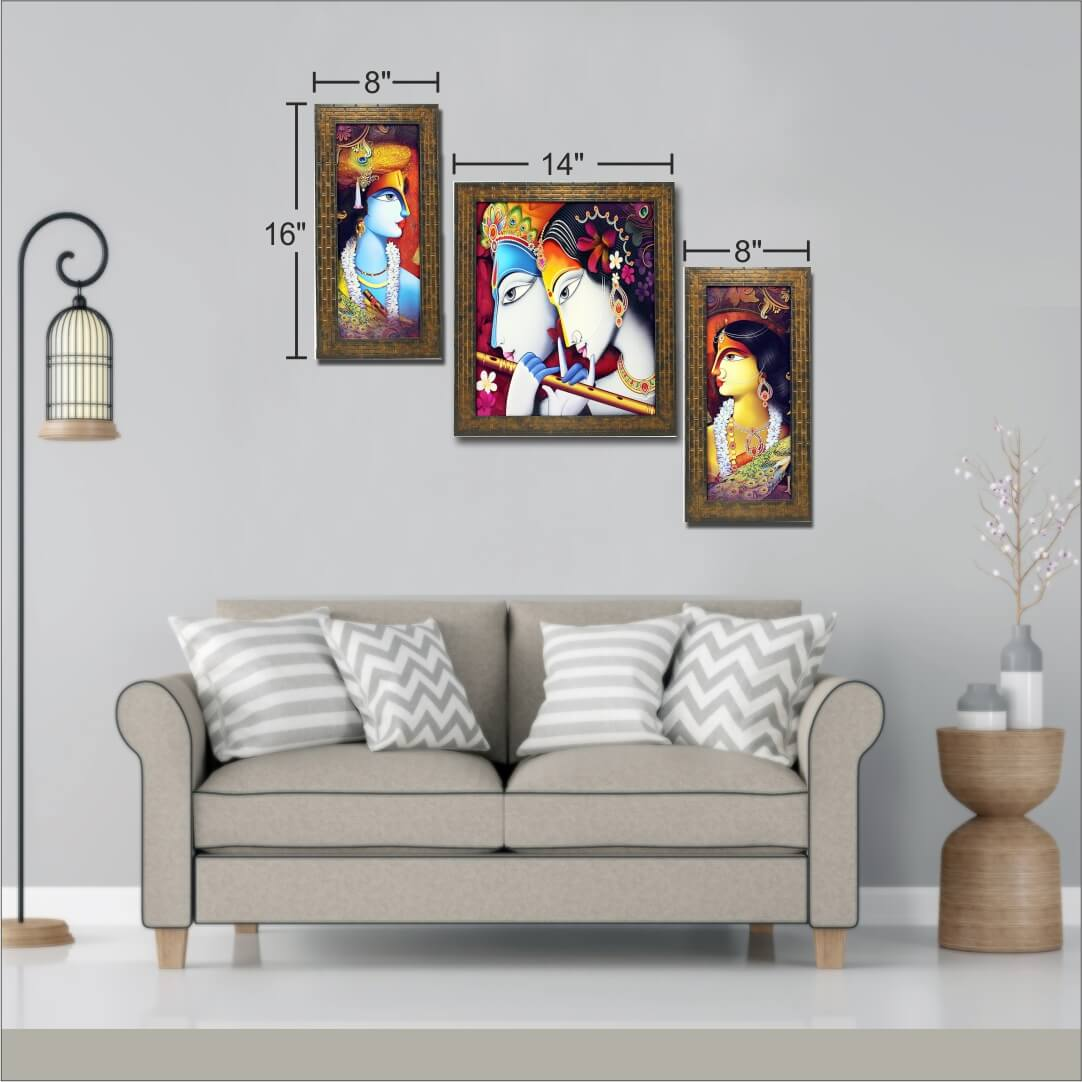 Radha Krishna wall art  Painting  8 Inch X 16 Inch 2Panel sided &  14Inch x 16Inch One Middle Panel