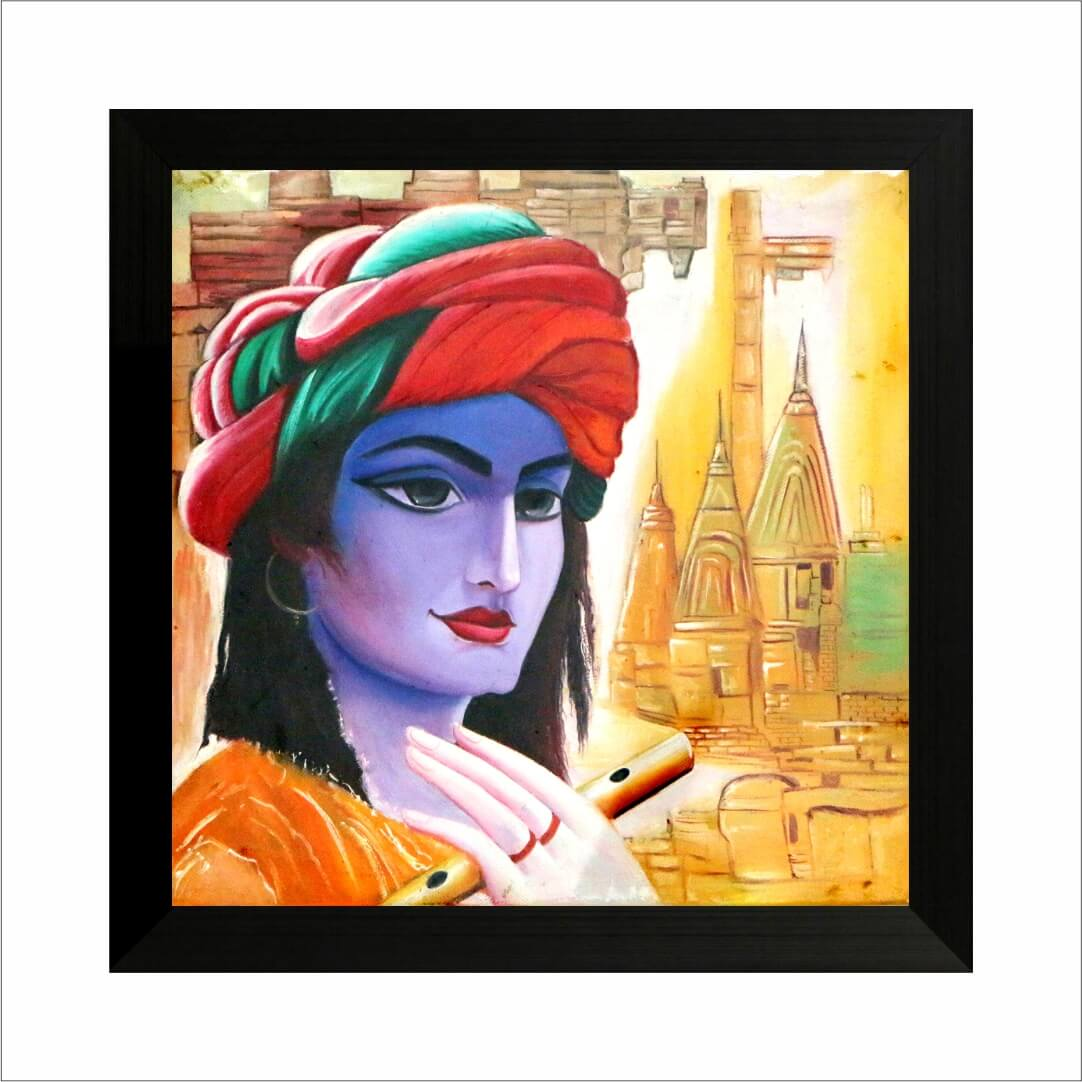 Colourful  Blue Face Krishna Digital  Art wall art Painting  22 Inch X 24 Inch