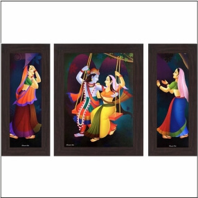 Radha Krishna Jhula wall art Painting 8 Inch X 18 Inch 2Panel Sided & 15Inch x 18Inch One Middle Panel