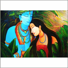 Beautiful  Blue Colour Krishna With Radha art Digital  Painting  24 Inch X 20 Inch