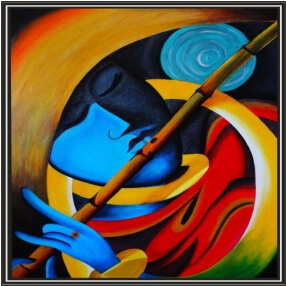 Colourful Art Krishna Bansuri Digital  Painting  18Inch X 24 Inch