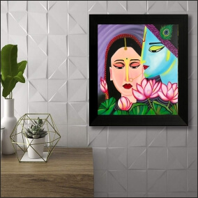 Colourful Art Kirshna With Radha Flowers Background  Digital Painting  18Inch X 23Inch