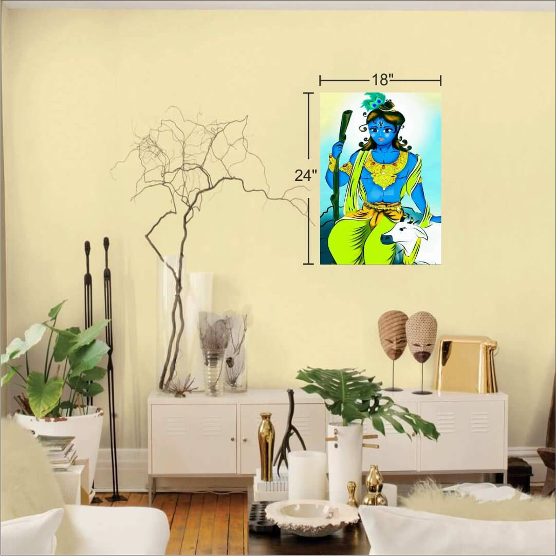 Colourful Art Krishna With Cow Background  Digital Painting  18Inch X 24Inch