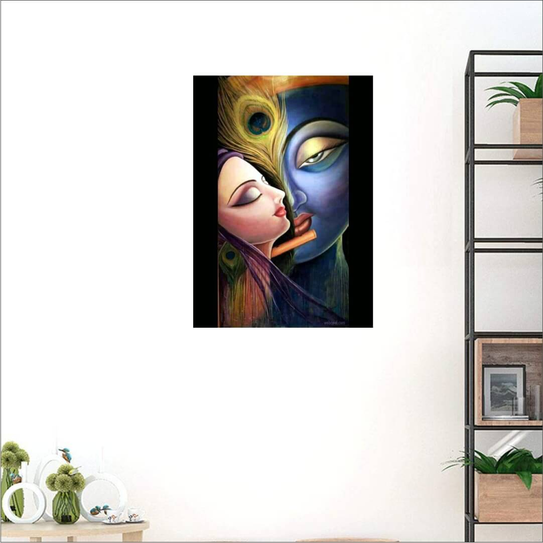 Colourful Art Kirshna With Radharani mdf  Digital Painting  18Inch X 23 Inch