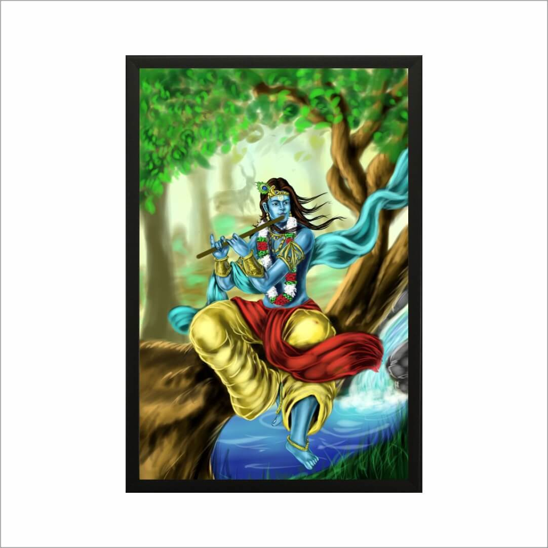 Hare Kirshna Sang Radha Beautiful  MDF Digital Painting  18Inch X 24 Inch