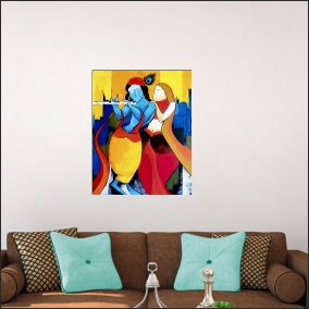 Lord Kirshna Sang Radharani  Blue Colour With Flute  Abstract   MDF Digital Painting  18 Inch X 24 Inch