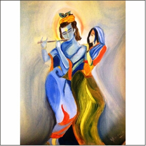 Lord Kirshna Sang Radharani  Blue Colour   Abstract   MDF Digital Painting  18 Inch X 24 Inch