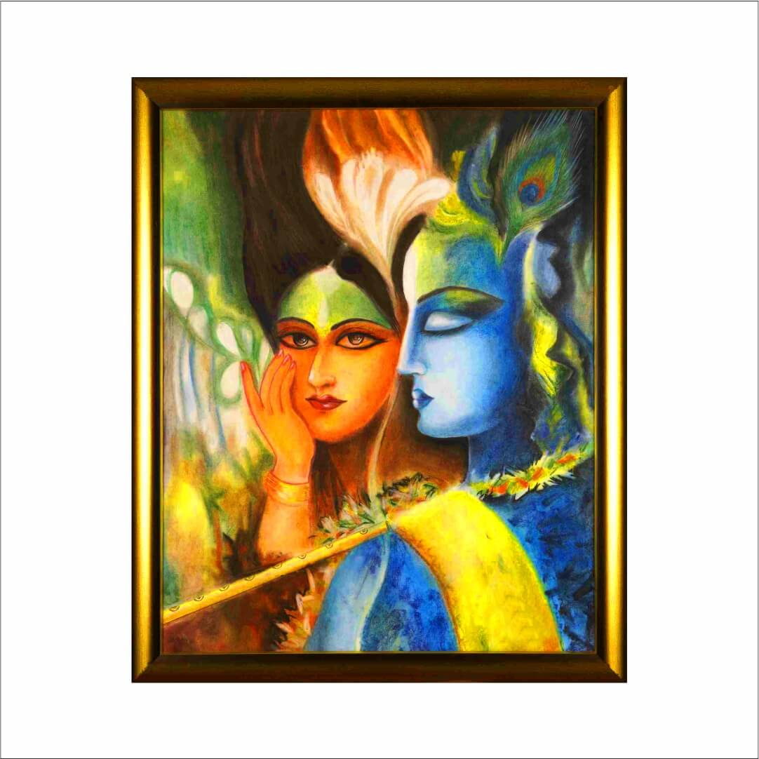Lord Radha Kirshna Animated With  Bansuri    Abstract   MDF Digital Painting  18 Inch X 23 Inch