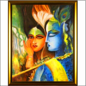 Lord Kirshna Sang Radharani  With  Bansuri    Abstract   MDF Digital Painting  18 Inch X 23 Inch
