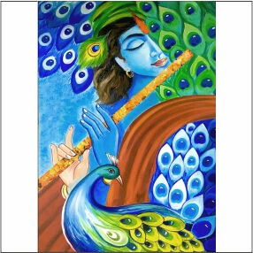 Lord  Kirshna Animated With  Bansuri With Beautiful    Abstract   MDF Digital Painting  18 Inch X 23 Inch