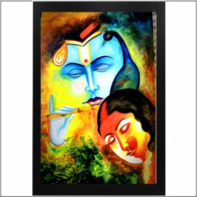 Lord  Kirshna Sang Radha Coloufull With  Bansuri  With Beautiful   Abstract   MDF Digital Painting  18 Inch X 23 Inch