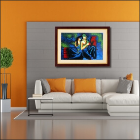 Lord  Kirshna Animated With  Bansuri With Beautiful    Abstract   MDF Digital Painting  23 Inch X 18 Inch