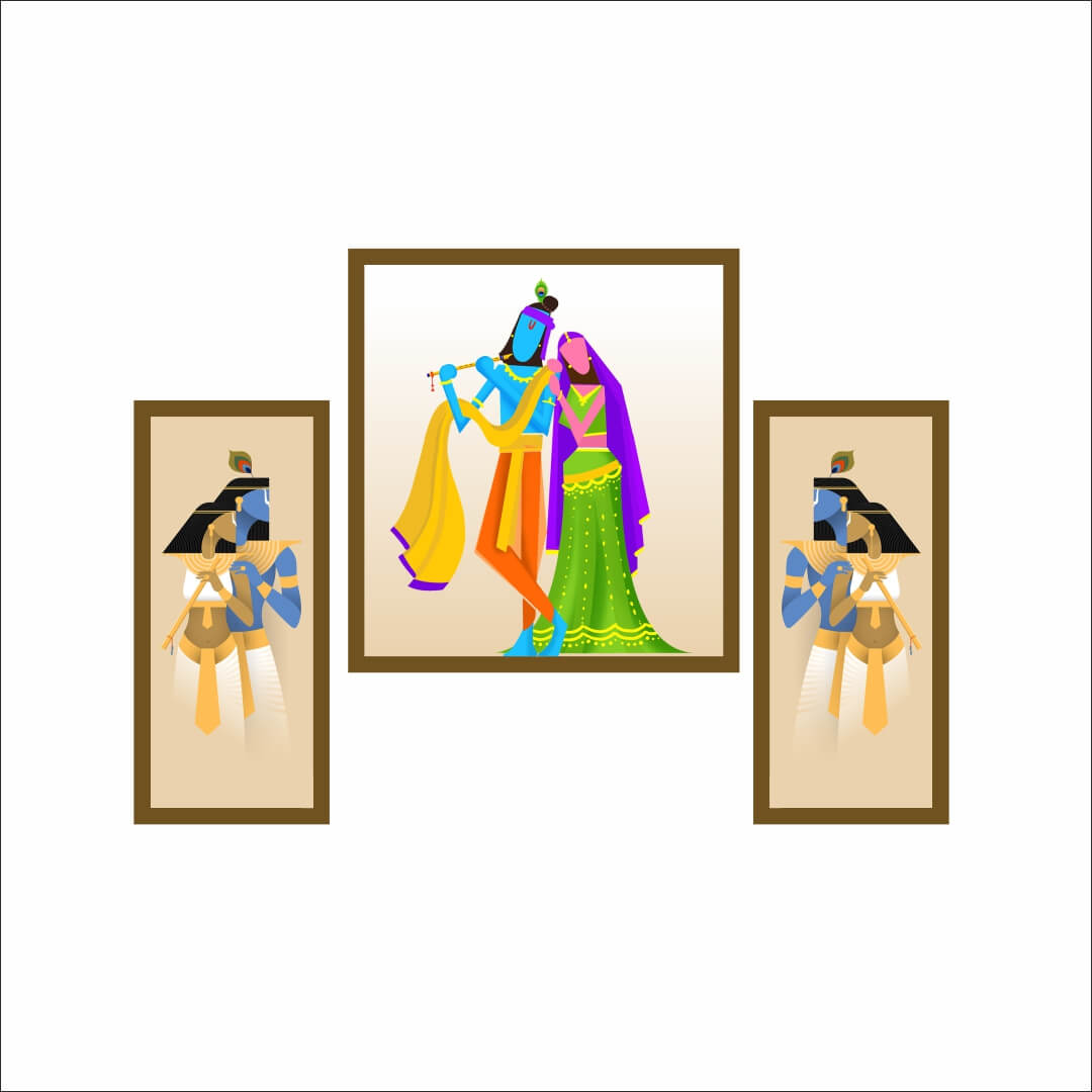 Radharani   Sang Lord Kirshna With  wing  Beautiful   Abstract   MDF Digital Painting  6 Inch X 13 Inch Sided Pannel with 12 inch x 13  Inch middle pannel