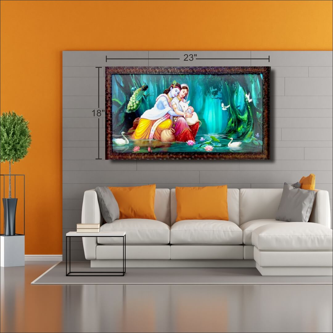 Radharani  Loves With  Lord kirshna Beautiful   Abstract   MDF Digital Painting  23 Inch X 18 Inch