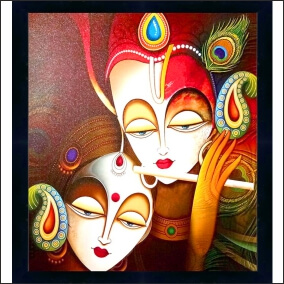 Radharani  Loves With  kirshna Animated Beautiful   Abstract   MDF Digital Painting  20 Inch X 22 Inch