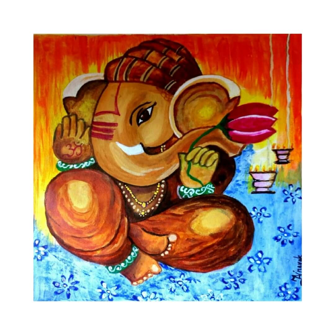 Lord  Ganesha Art Wall Painting  22 Inch X 22 Inch
