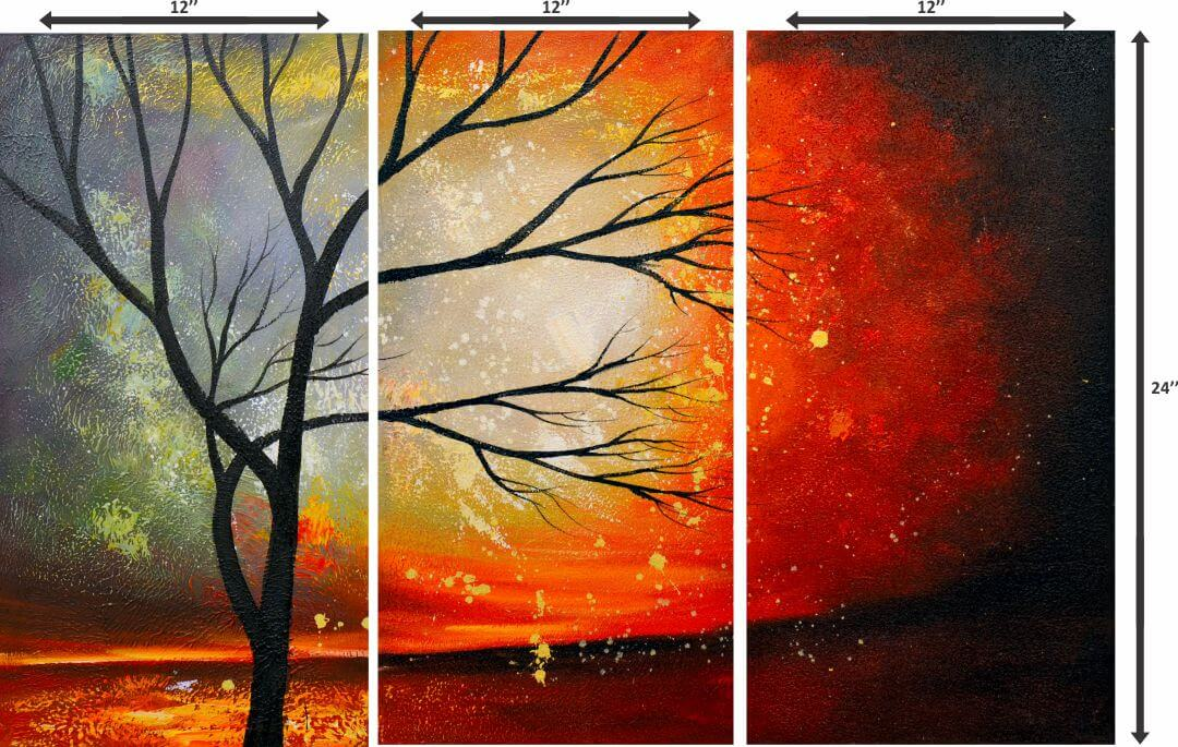 Colourfull abstract attractive tree with  Sunset Wall Digital Painting 12InchX24 Inch Each Panel