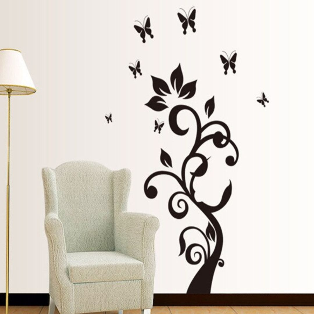 Tree and Butterfly  wall Decor wall   Sticker 47Cm X 76Cm