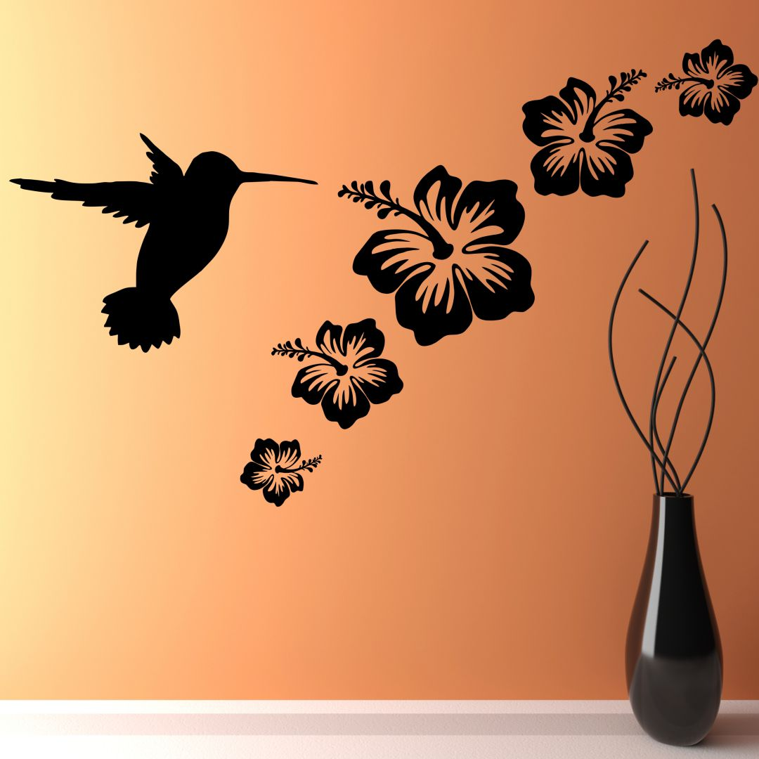 Beautiful Flowers with Bird wall Decor wall  Sticker 50Cm X 31Cm