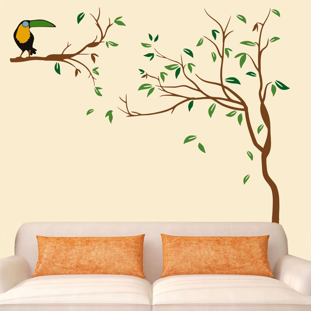 Beautiful  Small tree  leaves with Bird wall Decor wall  Sticker 100Cm X 77Cm