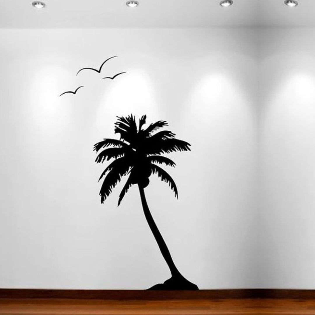 Palm tree with Birds  wall Decor wall  Sticker 45Cm X 76Cm