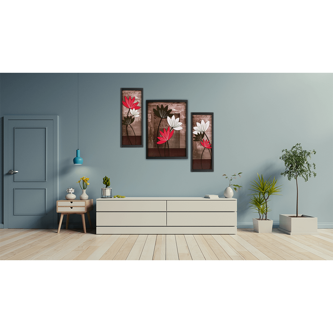 Modern UV Textured Flower Print Framed Large Painting Pack Of 3 Total 27.7 Inch X 20 Inch Digital Reprint 20.5 Inch X 14.5 Inch Painting