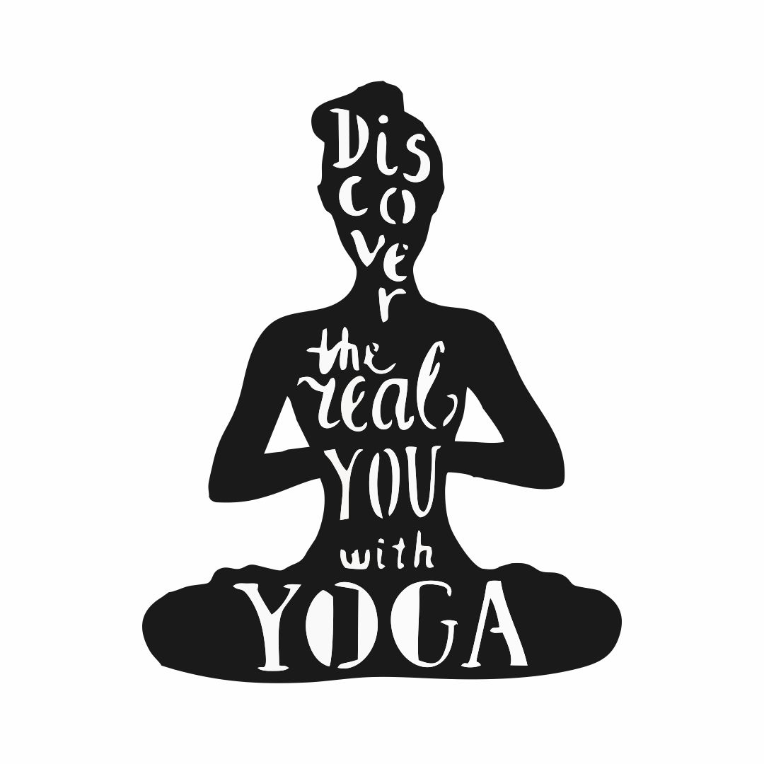 Discover The Real You With YOGA wall  Decor wall  Sticker 48Cm X 60Cm