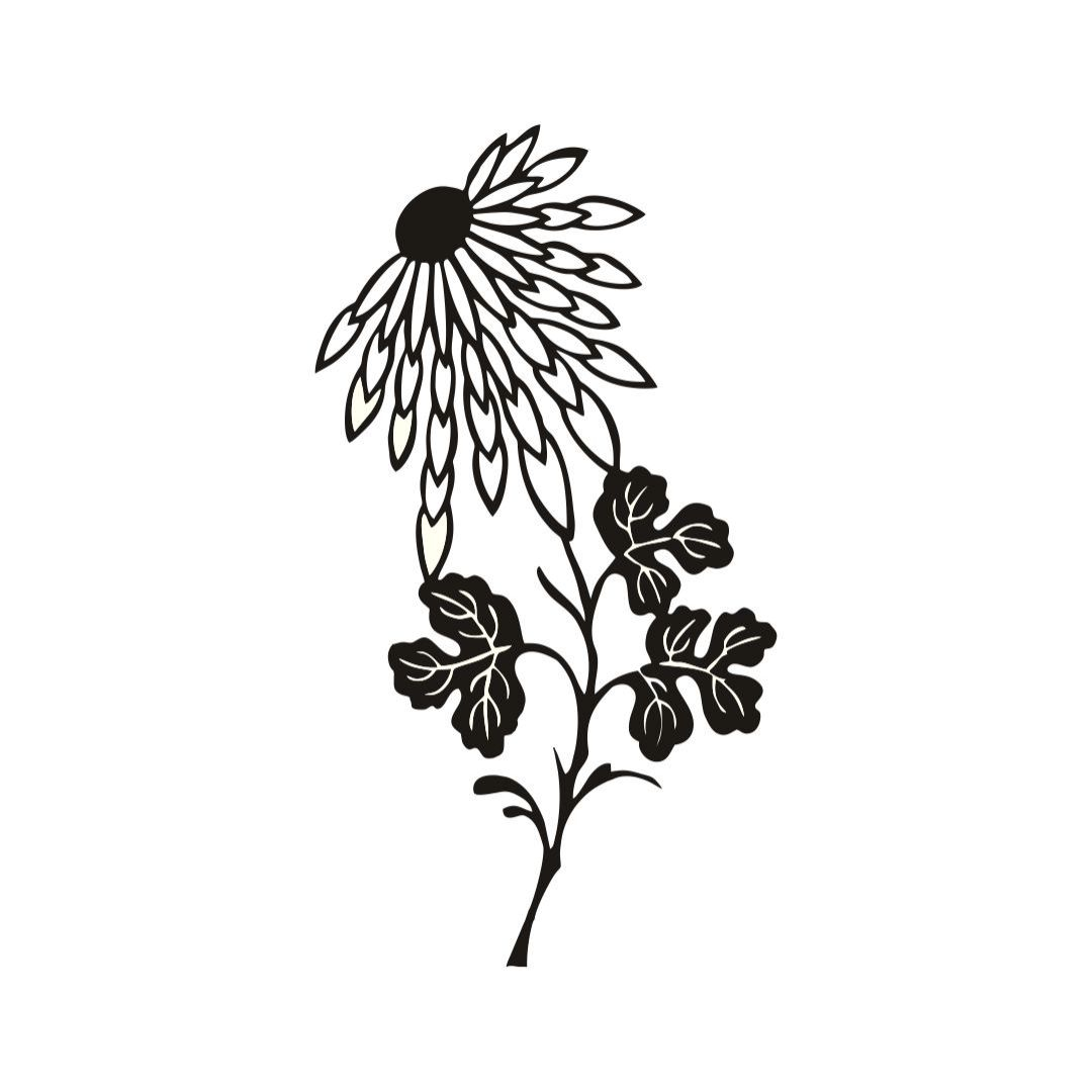 Simple Thistle Silhouette Flower wall  Decor wall  Sticker 25Cm X 45Cm