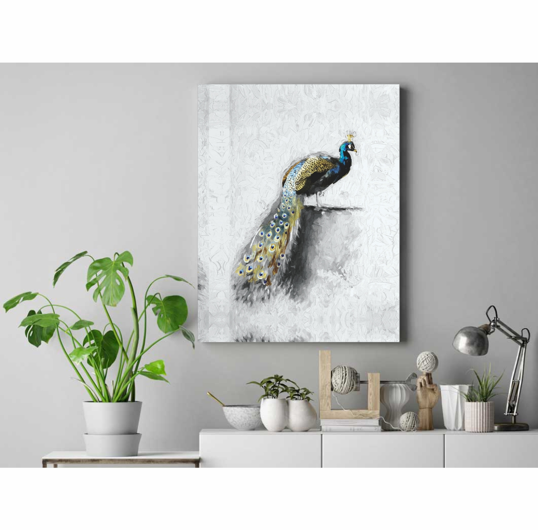 Golden Blue Peacock Canvas Painting,  13 Inch X 20 Inch