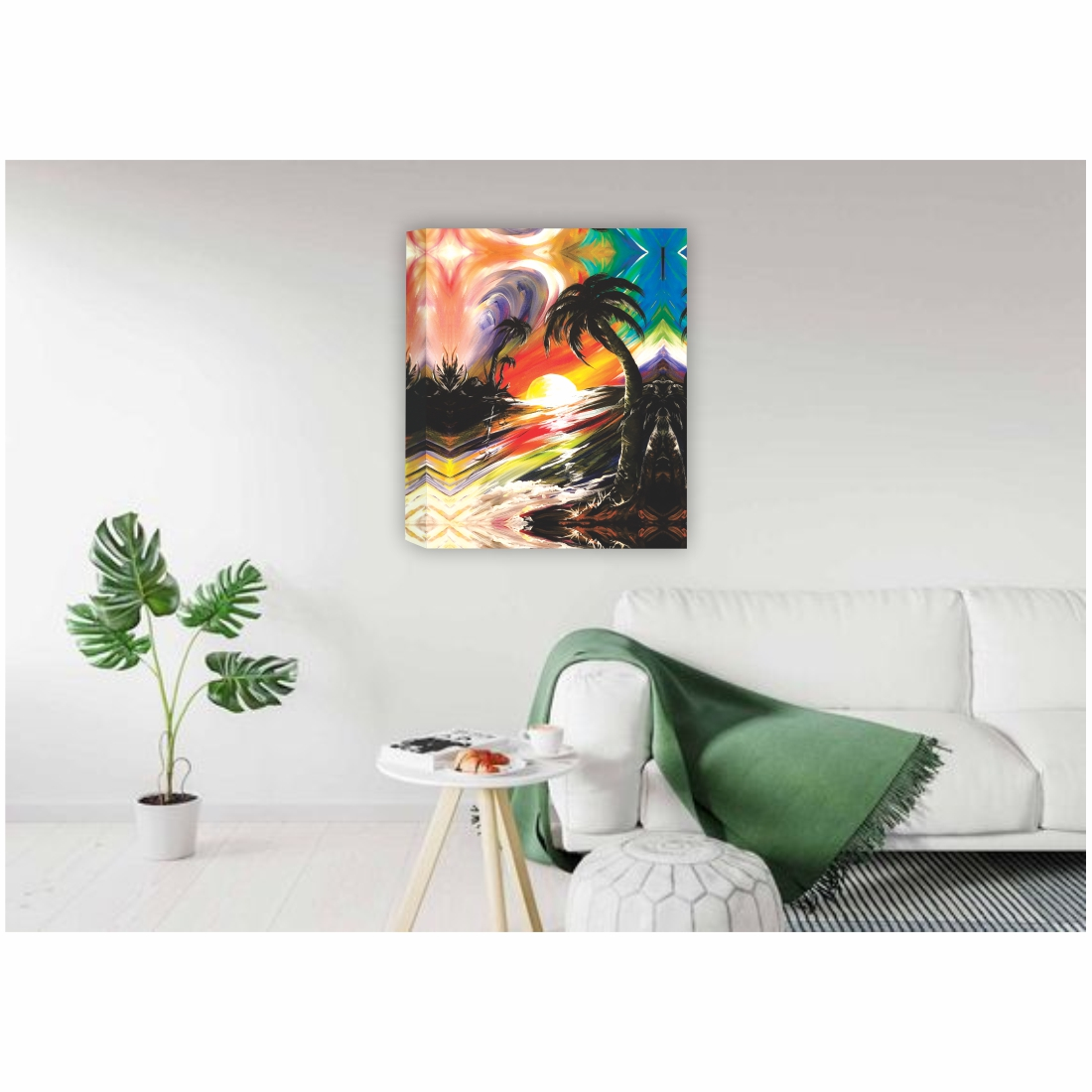 Beach scene with Sunset  Canvas Painting, 18 Inch X 23 Inch