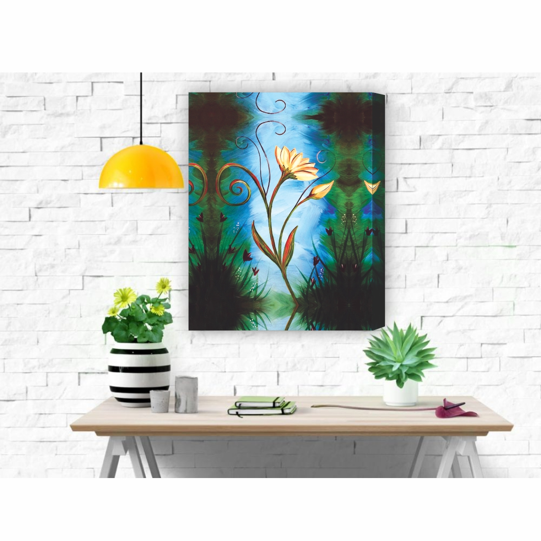 Turquoise Daisies Canvas Art Flowers  Canvas Painting, 15 Inch X 12 Inch