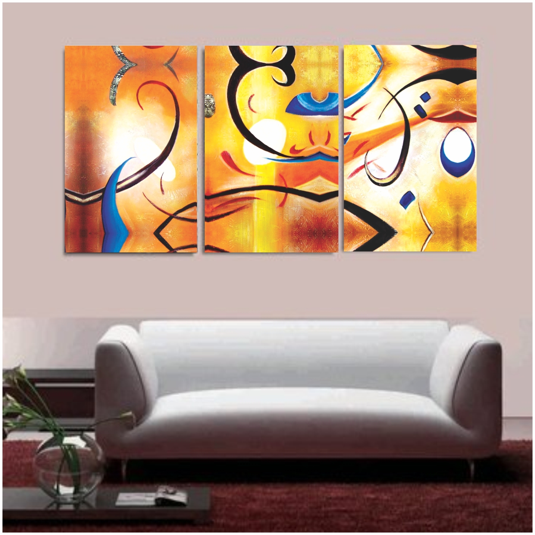 Clay Alder Home Happiness Abstract  Gallery Wrapped Canvas Painting, 12Inch X 18 Inch Each Set