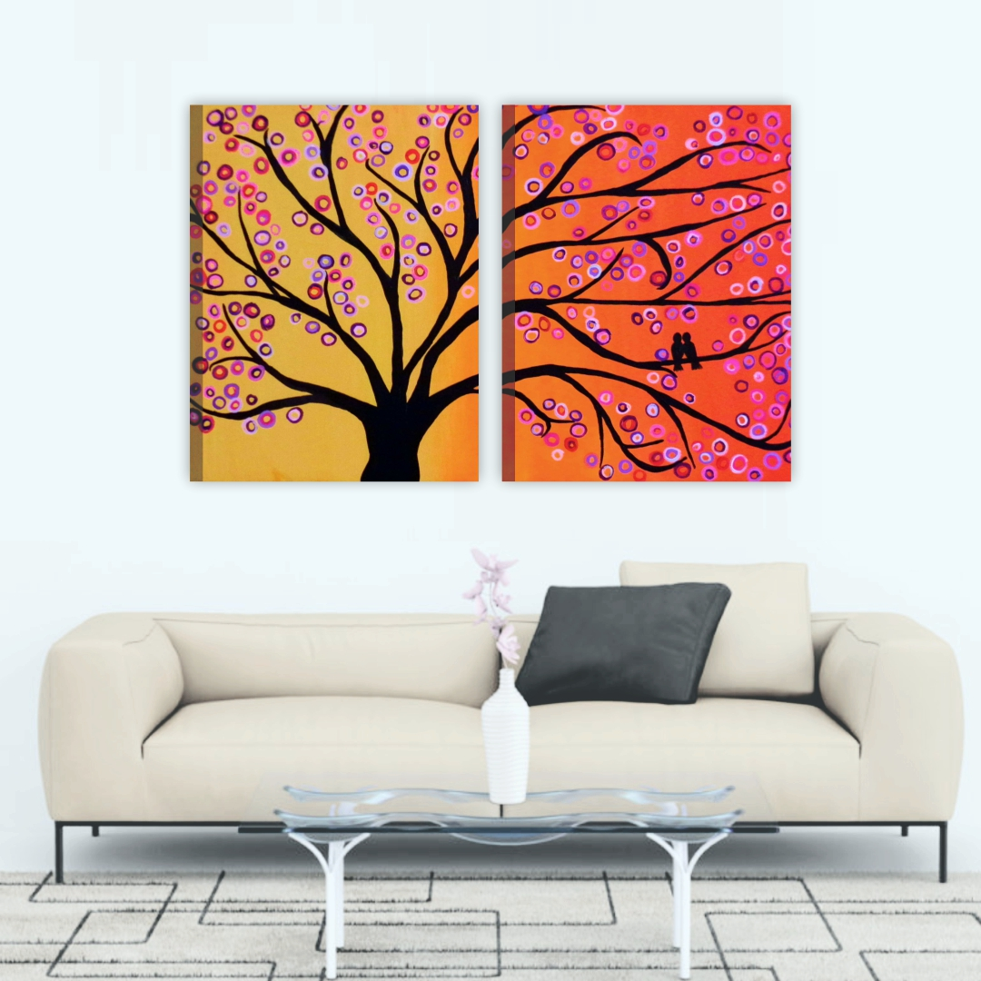 Beautiful tree Flowers painting  Modern Canvas wallart 2 Painting   38Cm X 50Cm each set