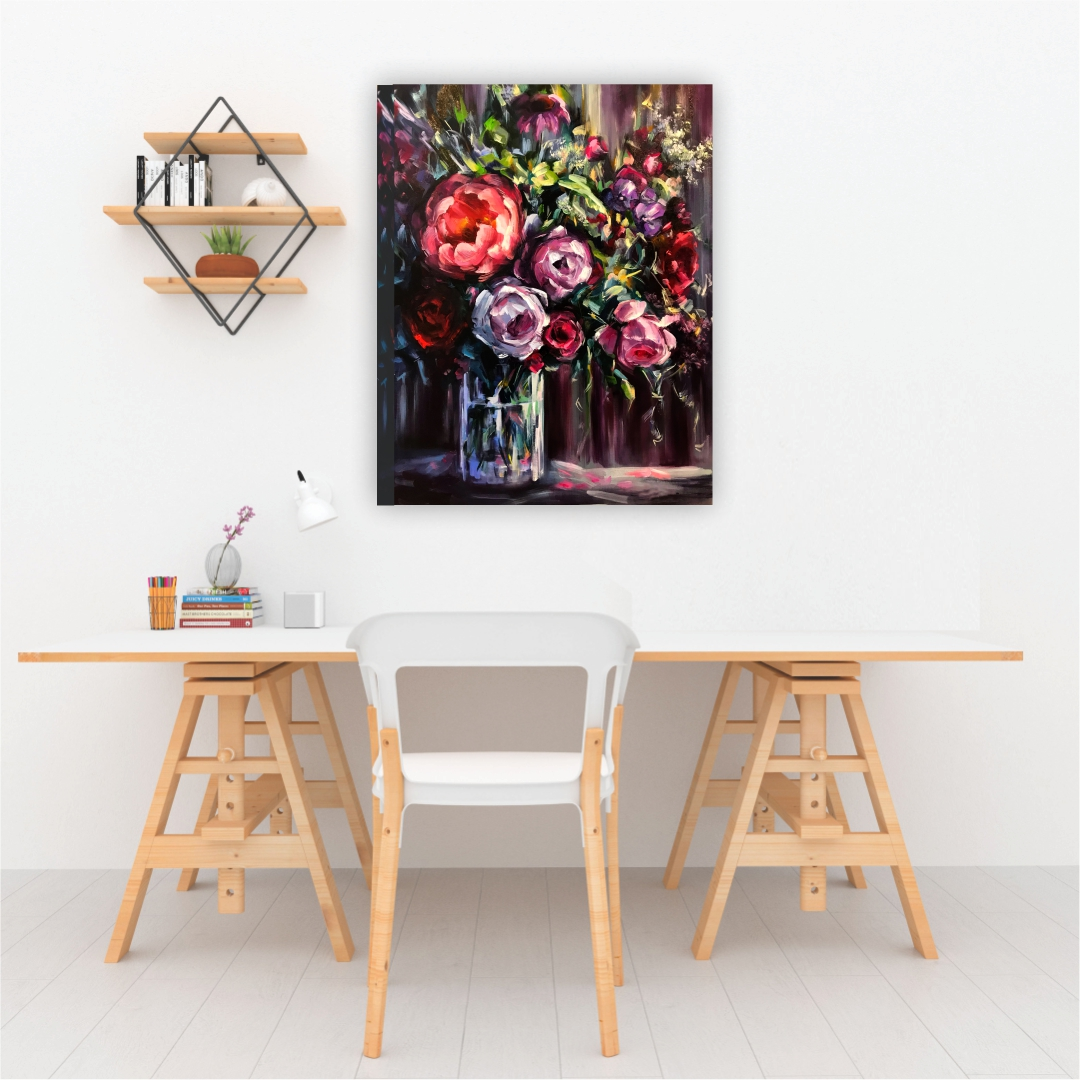 Colourful Flower bouquet abstract   Modern Canvas wall art Painting   33Cm X 45Cm