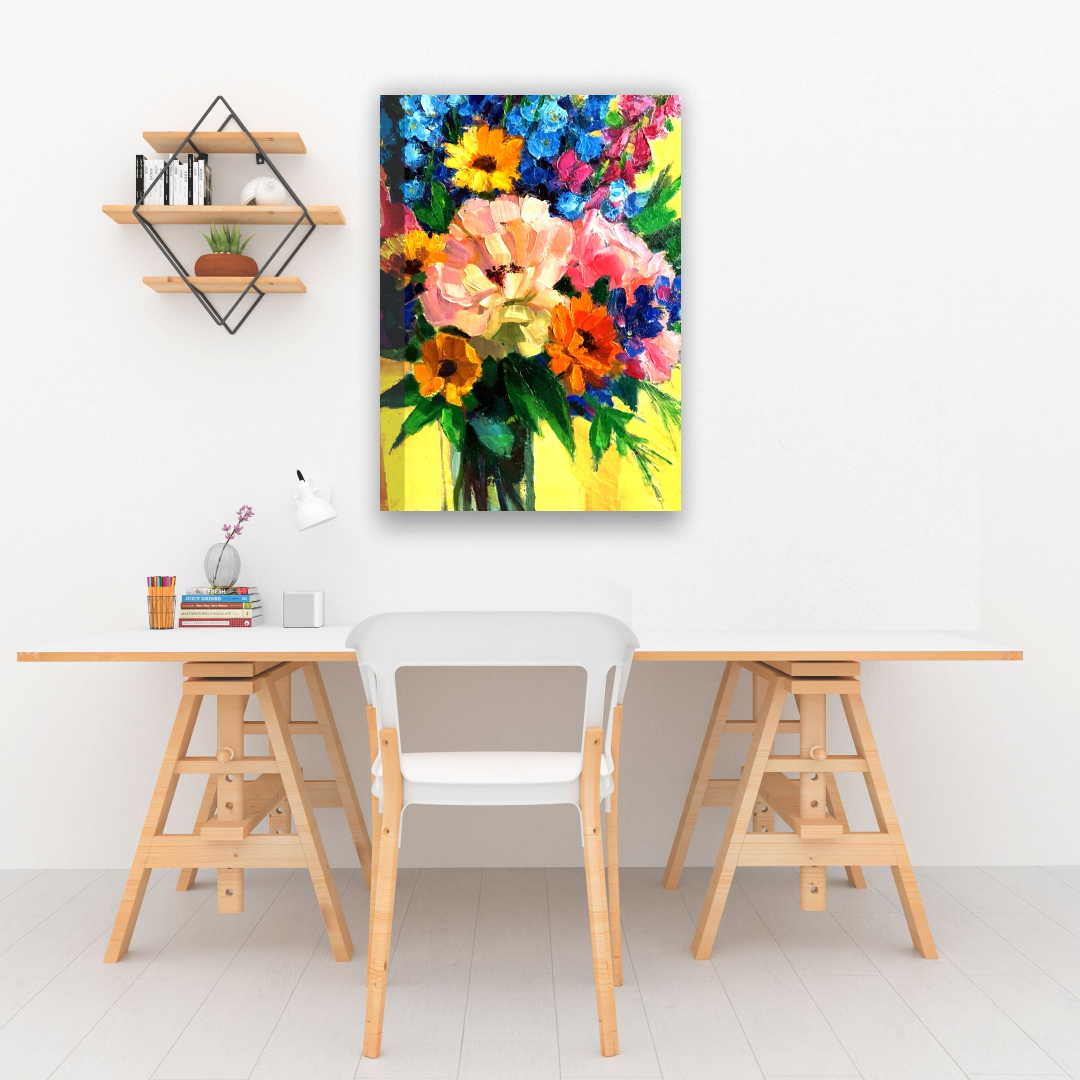 Zinnia Plants Canvas Art  abstract    Modern Canvas wall art Painting  33Cm X 45Cm