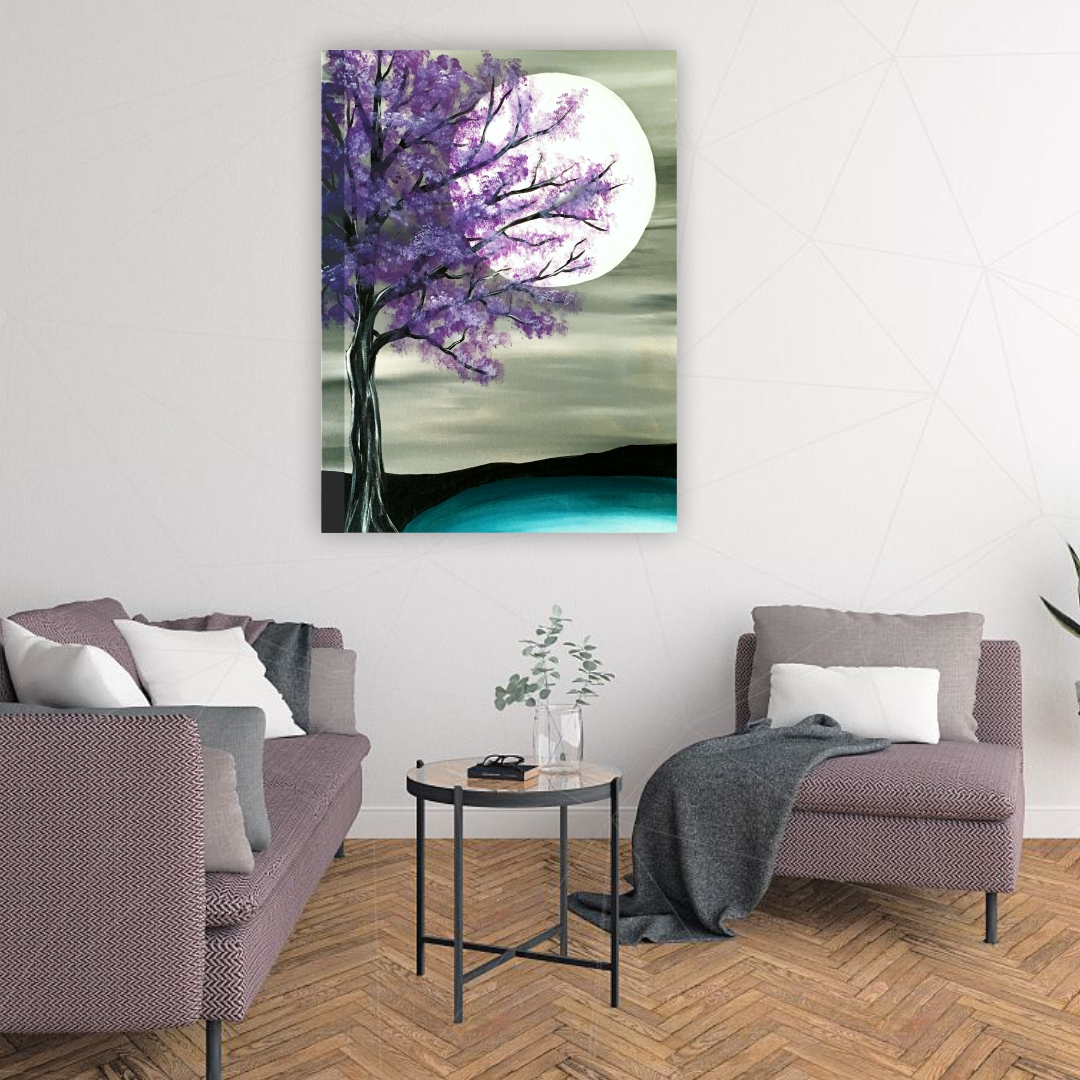 Painting  Tree with sun in sky wall art  Artabstract   Modern Canvas wall art Painting  33Cm X 45Cm