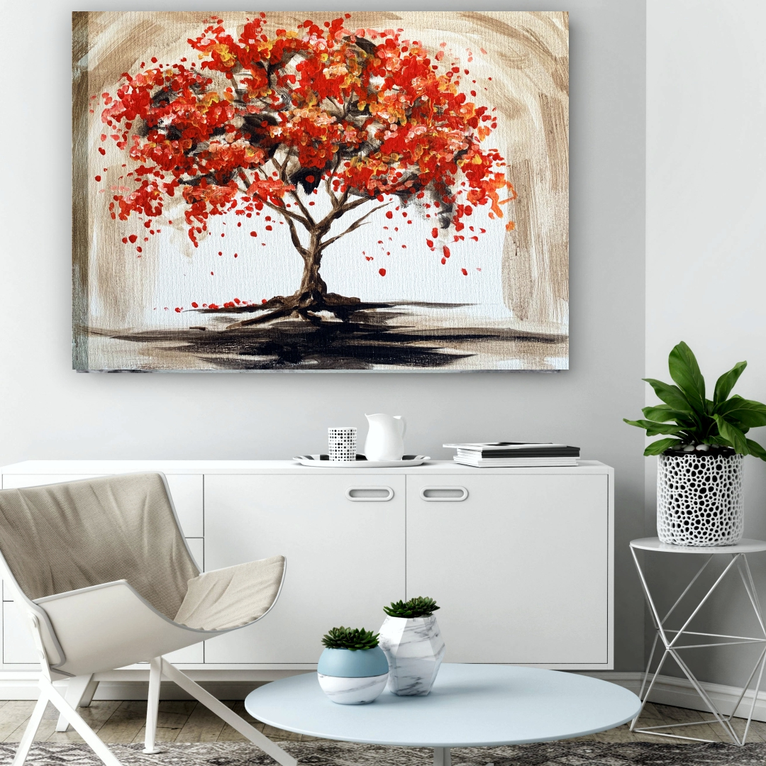 Colourful tree with beautiful background  art Art abstract   Modern Canvas wall art Painting  58Cm X 45Cm