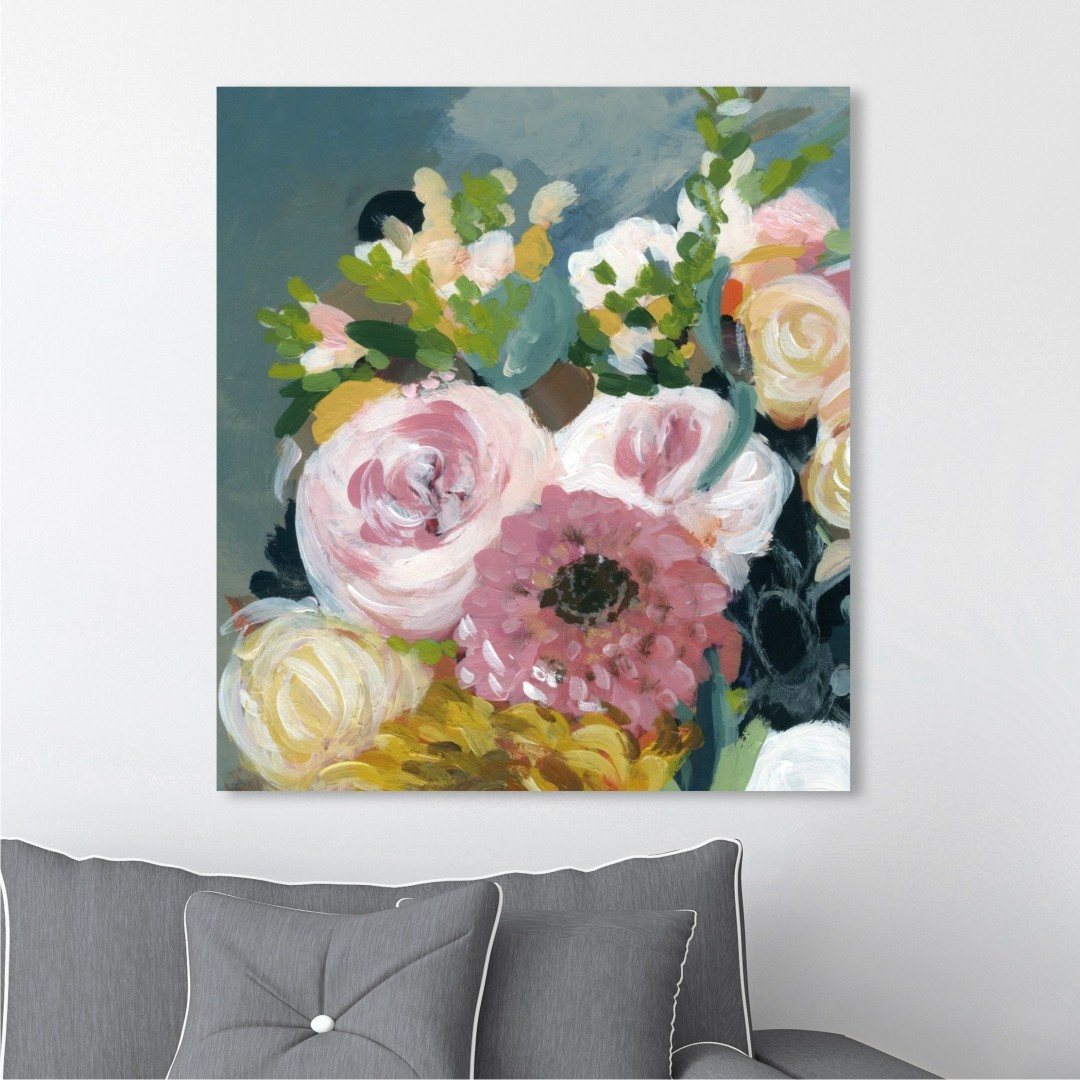 Colourful Flowers Abstract Canvas WallPainting 38CmX45Cm