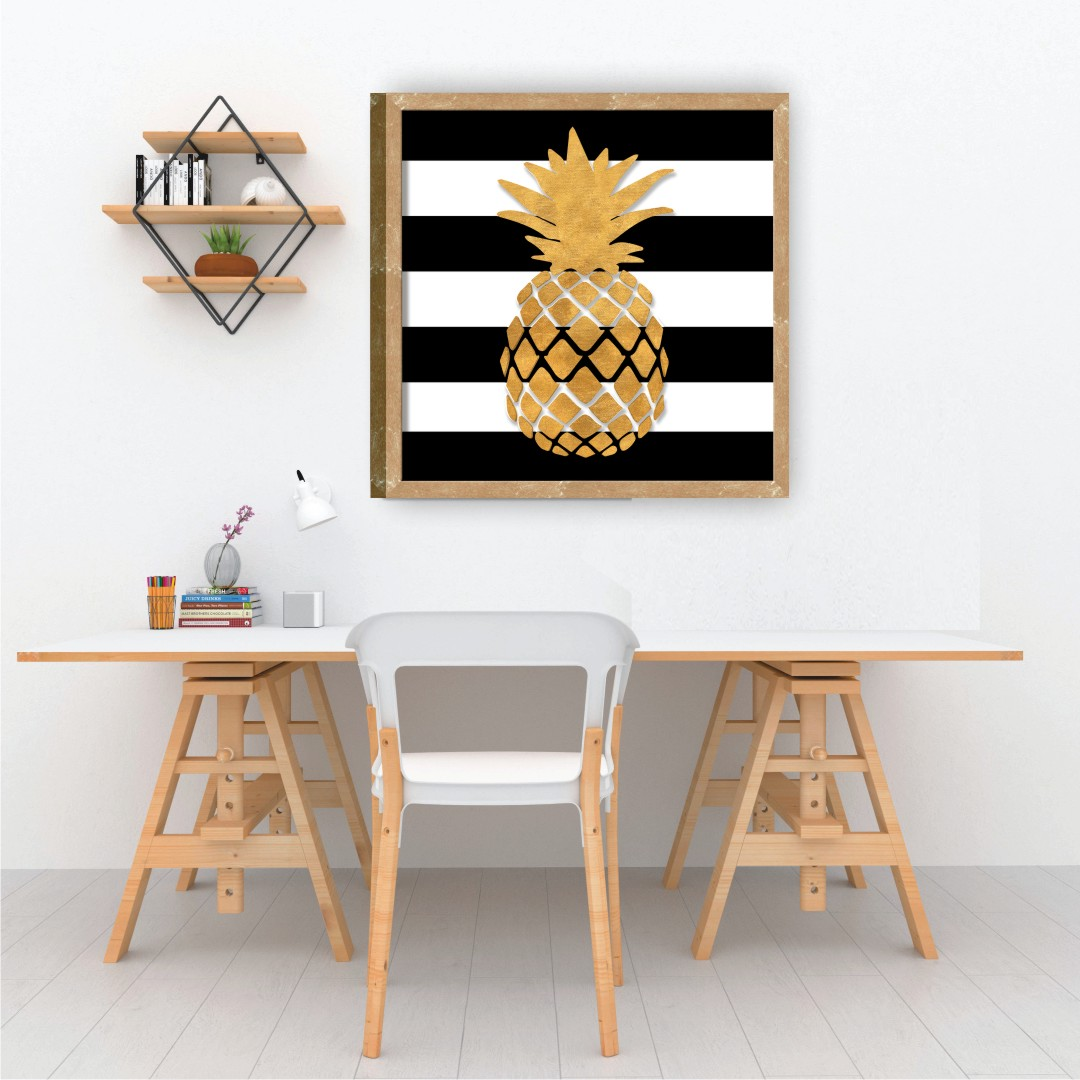 Pineapple Colourful Canvas Abstract WallPainting 35CmX35Cm