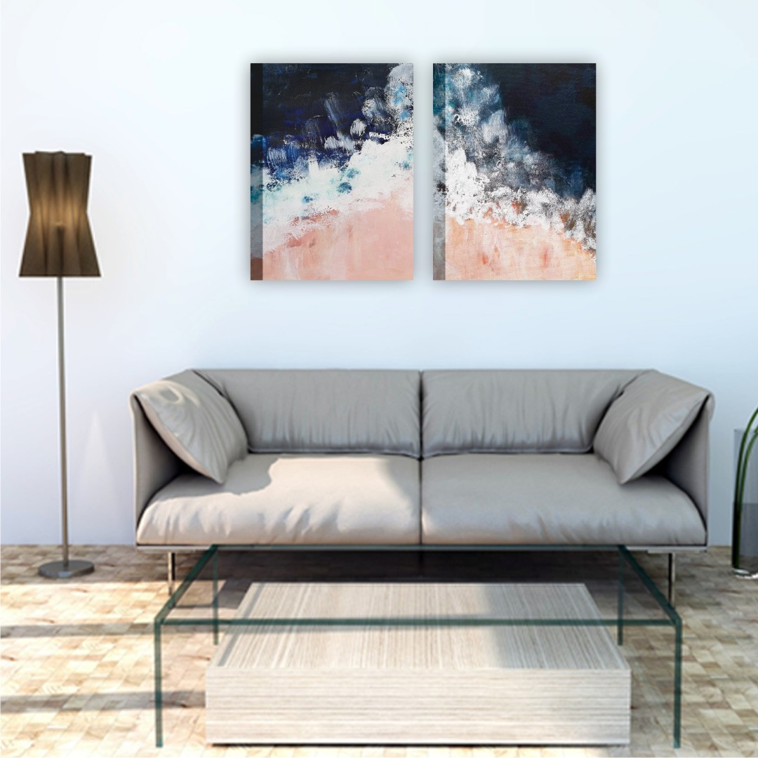 Dark Blue and bright wall Canvas Abstract WallPainting 30CmX40Cm each set