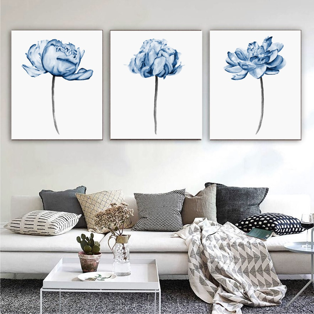 Flowers Watercolors Wrapped Canvas bright wall Canvas Abstract WallPainting 27CmX35Cm each set
