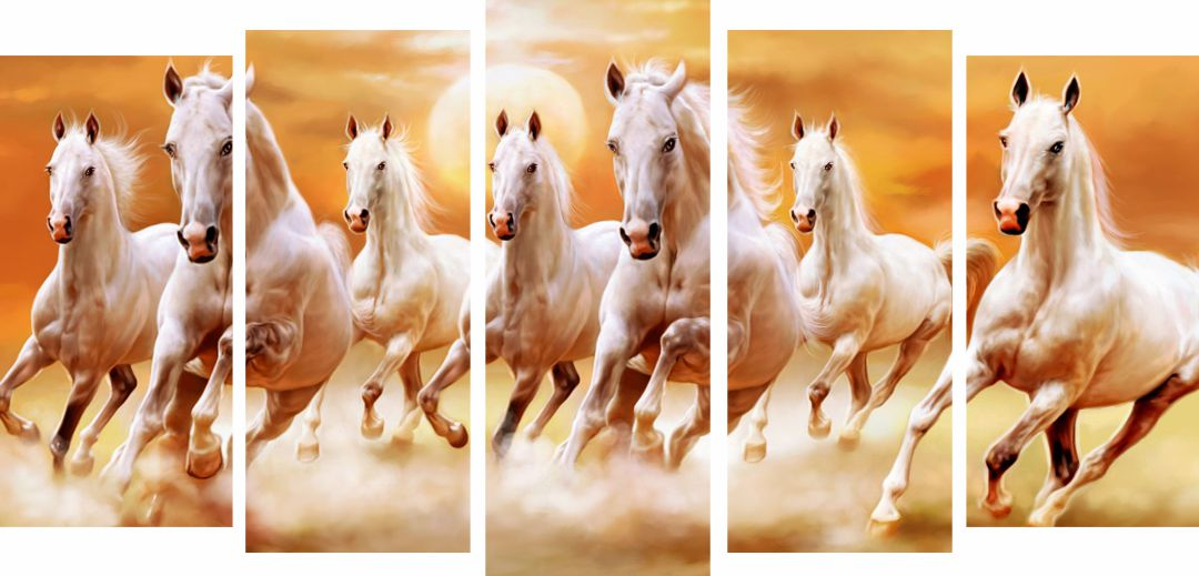 Seven Lucky Horses Running   Wall Digital Painting 9.6 InchX24  Inch Each Panel
