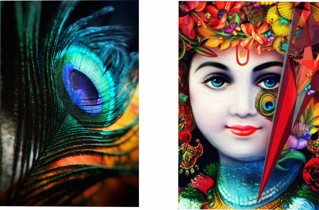 Colourfull  Lord Krishna  With fur Wall Digital Painting 18 InchX24 Inch Each Panel