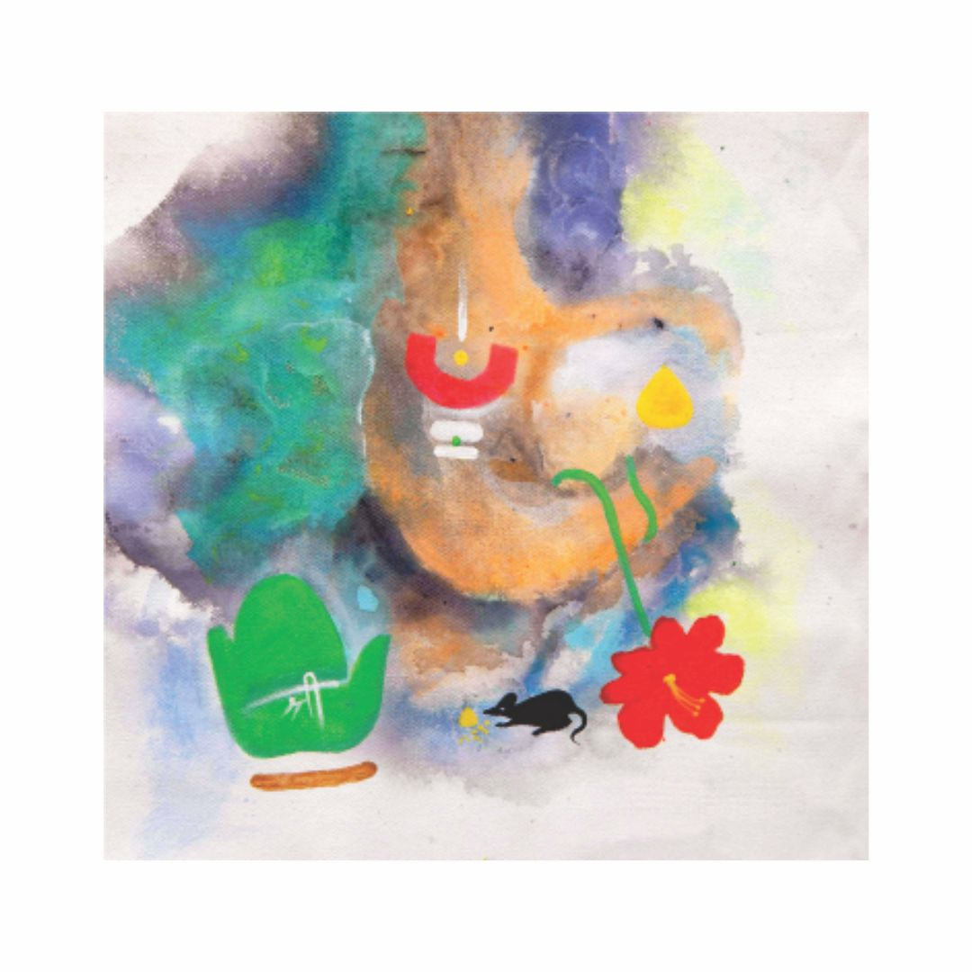 Colourfull  Abstract Ganesha Wall  Painting  20 inch x  20 inch