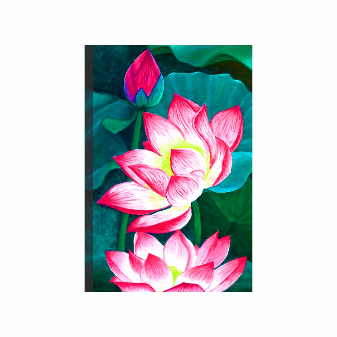 Colourful Flower Nymphaea nelumbo  abstract   Modern Canvas wall art Painting   30Cm X 45Cm