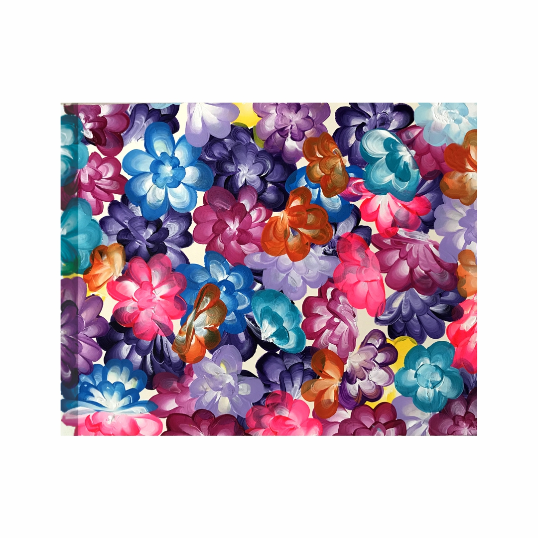 Colourful   Patchwork Fabric Crafts with  flowers abstract   Modern Canvas wall art Painting   50Cm X 40Cm