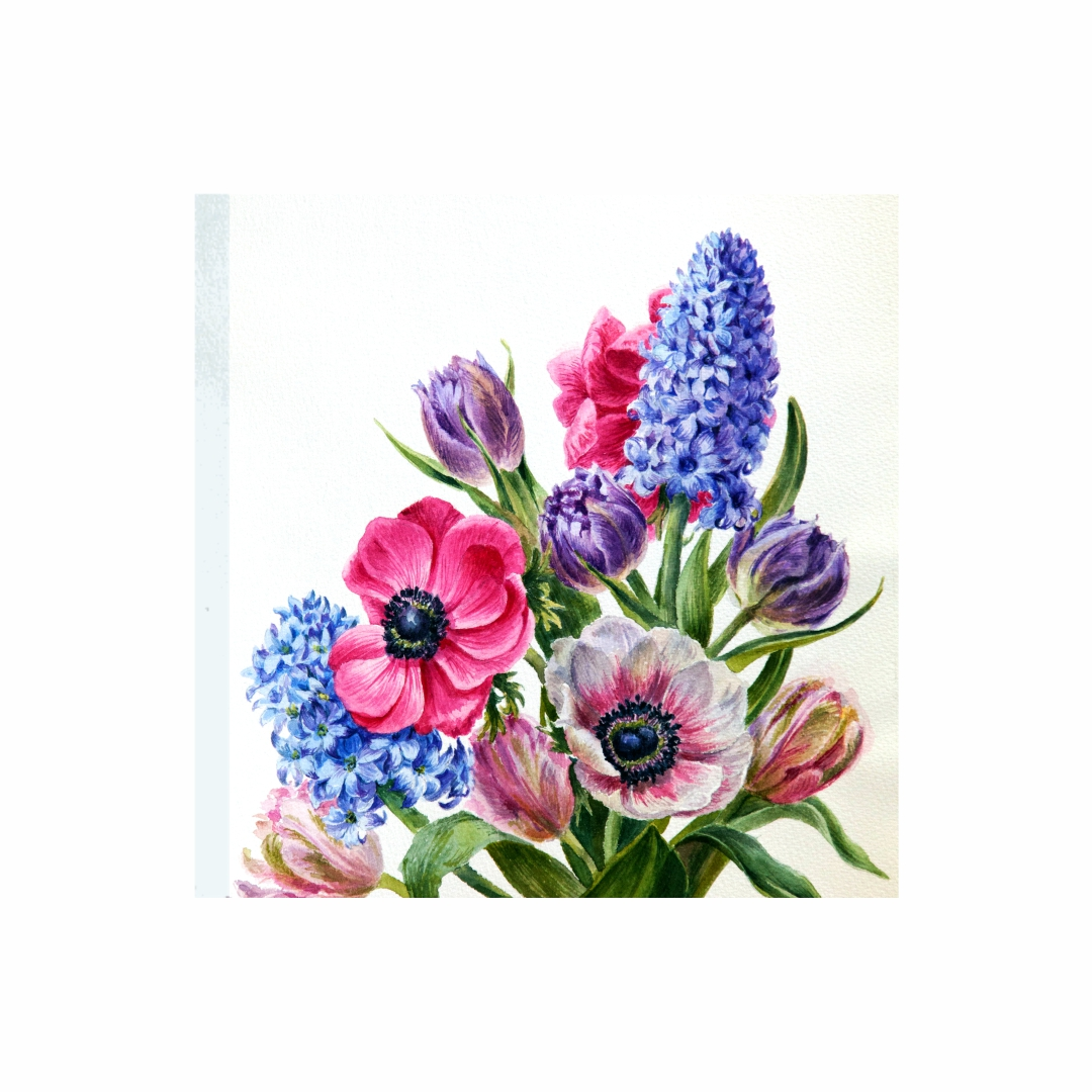 Colourful  Hyacinth Plants and flowers abstract   Modern Canvas wall art Painting   45Cm X 45Cm