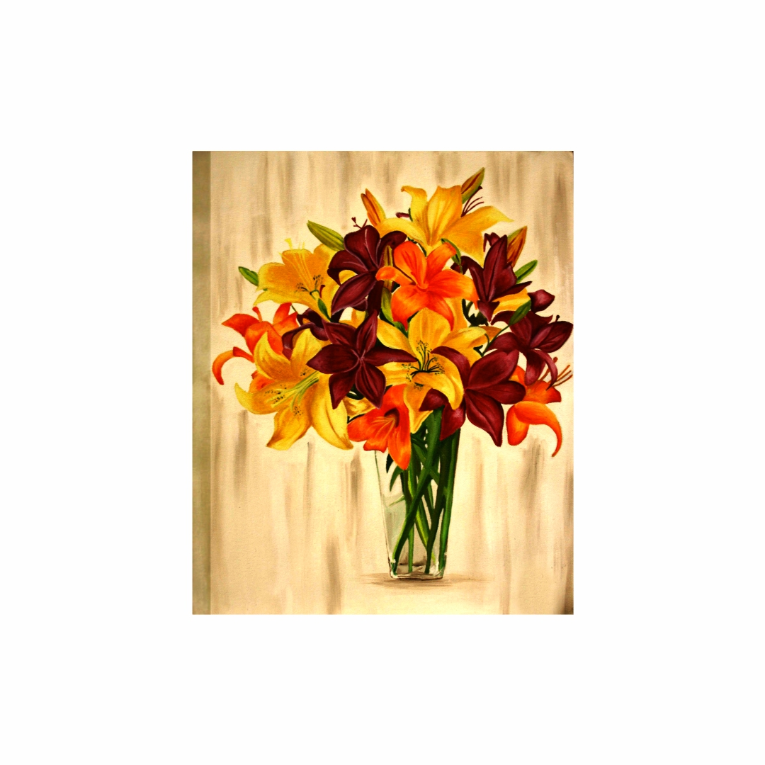 Colourful Canvas Bunch of flowers Plants Canvas Art abstract   Modern Canvas wall art Painting   38Cm X 45Cm
